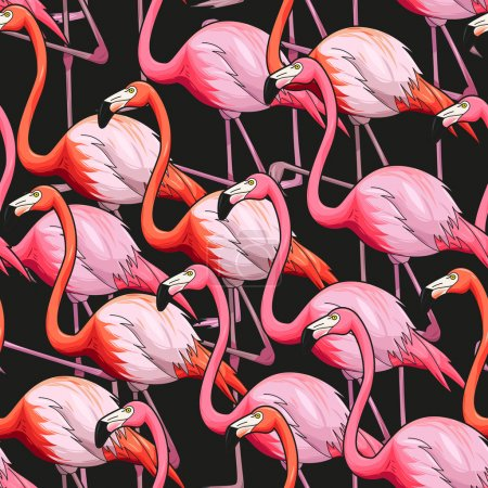 Illustration for Colorful flamingo on black background vector seamless pattern - Royalty Free Image