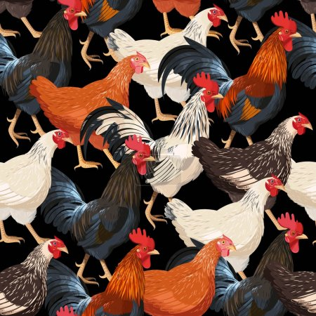 Colorful hens seamless
