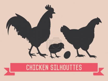 Chicken vector silhouettes