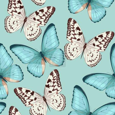 Illustration pour Haute détaillée papillons colorés vecteur fond sans couture - image libre de droit