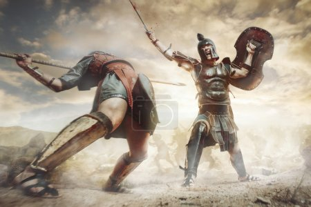 Photo for Ancient Greek warrior fighting in the combat - Royalty Free Image