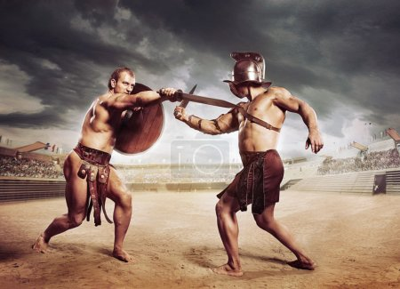 Photo pour Gladiateurs combattant sur l'arène du Colisée - image libre de droit