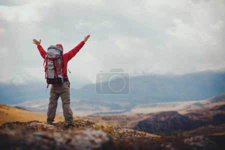 Photo for Adventure, travel, tourism, hike and people concept - man with backpack in mountain - Royalty Free Image