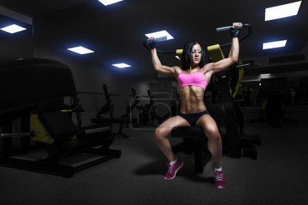 Sexy athlete woman lifts in the gym. Brunette performs an exerci