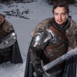 Постер, плакат: Medieval knights Prepare for battle as style Game of Thrones in