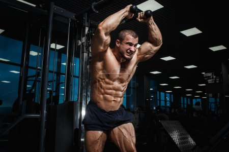 Photo for Strong Athletic Man bodybuilderl Torso showing muscles in gym - Royalty Free Image