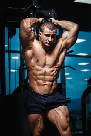 Strong Athletic Man Fitness Model Torso showing muscles in gym
