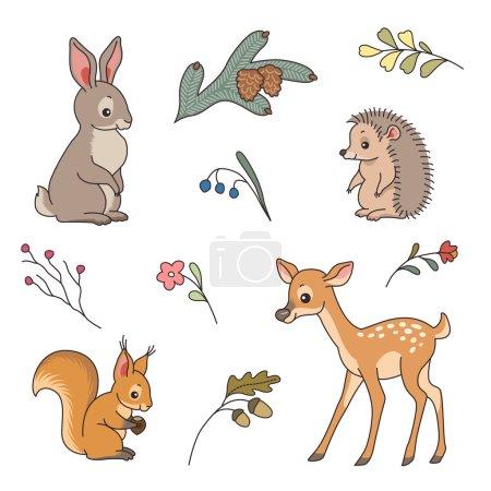 Photo pour Ensemble d'animaux de forêt mignons. Lapin, cerf, hérisson et écureuil dans un style de dessin animé - image libre de droit