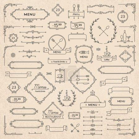Illustration pour Ensemble d'éléments de design rétro classiques pour la décoration de menu - image libre de droit
