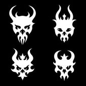 Set of stylized skulls with horns