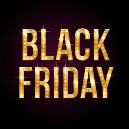 Illustration for Gold shining text Black Friday on dark  background - Royalty Free Image