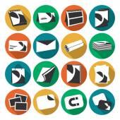 Tisk ikony plochý barevný dům webových sada