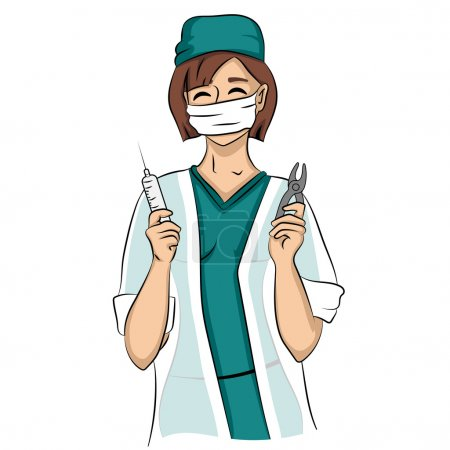 Illustration for Sexy dentist woman holds syringe and tongs. Young shy female nurse doctor smiling isolated on a white background - Royalty Free Image