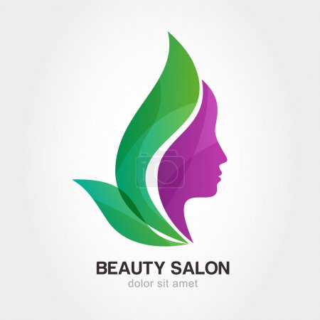 Illustration pour Woman's face in flower leaves. Abstract design concept for beauty salon, massage, cosmetic and spa. Vector logo design template. - image libre de droit