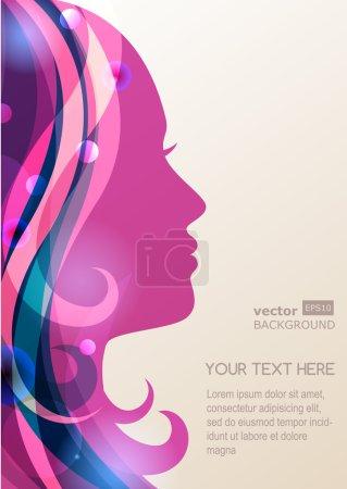 Illustration pour Belle silhouette de fille avec des cheveux colorés, fond vectoriel. Concept de design abstrait pour salon de beauté, spa, magasin de cosmétiques, flyer, brochure, couverture, bannière, pancarte . - image libre de droit