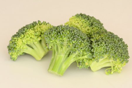 Photo for Fresh raw Broccoli on creamy background close up - Royalty Free Image