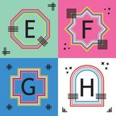Colorful line capital letters E F G and H emblem icons set
