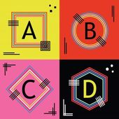 Colorful line capital letters A B C and D emblems icons set