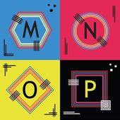 Colorful line capital letters M N O and P emblem icons set