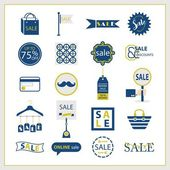 Blue and golden SALE and shopping icons set on white background