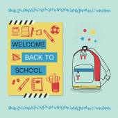 Welcome Back To School blue and yellow message with hand drawn school bag and stationery icons