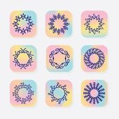 Abstract line round symbolic emblems set on colorful gradient square icons and white background
