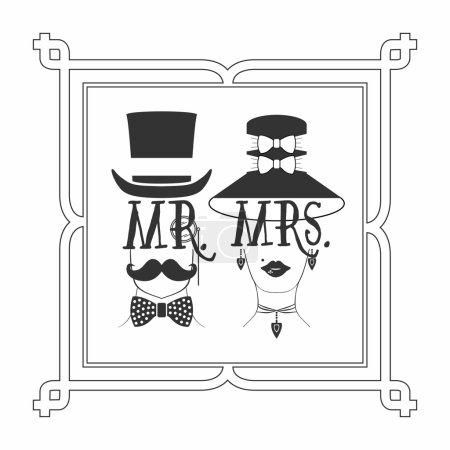 Illustration pour Silhouette noire élégante Mr. Homme & Mme Cadre photo icônes féminines sur fond blanc - image libre de droit