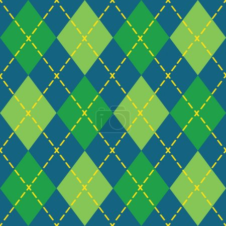 Illustration for Colorful blue and green argyle seamless pattern - Modern flat design - Royalty Free Image