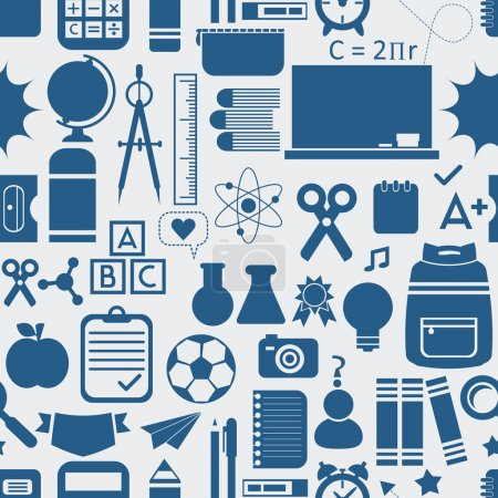 School and educational icons, background, and seamless pattern