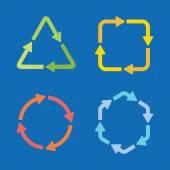 Barevné šipky ikony v různých tvarech a barvách