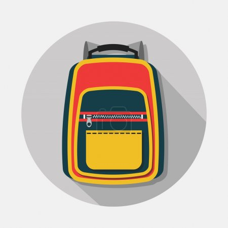 Single backpack icon with long shadow on gray background