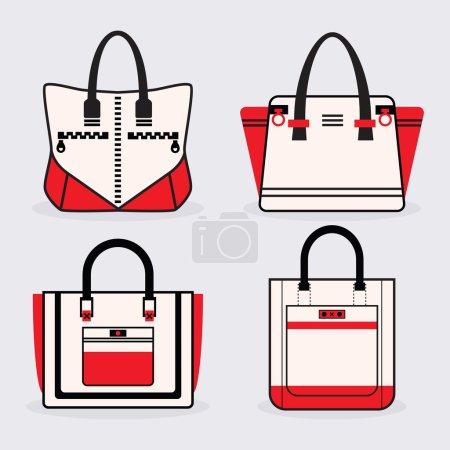 Illustration pour Femmes à la mode rouge, noir et blanc icônes sac à main ensemble - image libre de droit