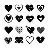 Assorted designs of black silhouette hearts icons set on white background - Flat design elements