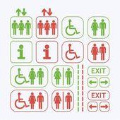 Line Man and Woman public access icons set on off white background