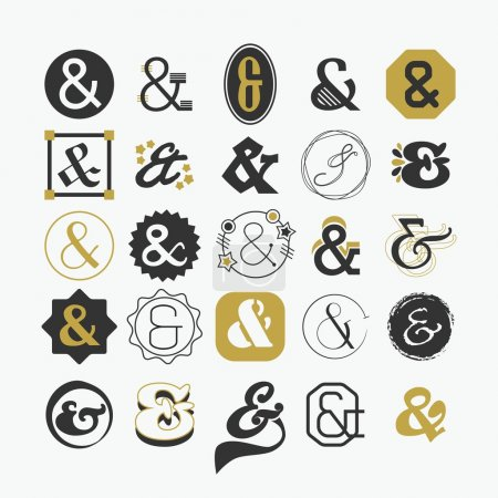 Stylized Ampersand sign and symbol design elements set