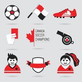 Canada Soccer icons and design element set - Modern flat red black and white