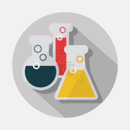 Laboratory glassware icon with long shadow on gray background - Modern flat design