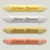 Beautiful Golden Silver Bronze and Copper floral beveled banners set on modern gray background