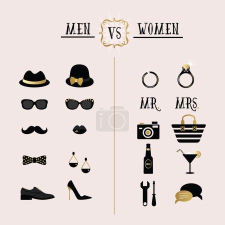 Illustration pour Noir et or hipster Hommes Vs Femmes accessoires et icônes de design sur fond rose - image libre de droit