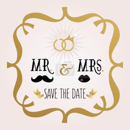 Illustration pour Noir et doré abstrait M. & Mme Save The Date carte de mariage sur fond dégradé rose - image libre de droit
