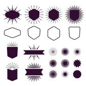 Burgundy set of empty and silhouette design elements on white background