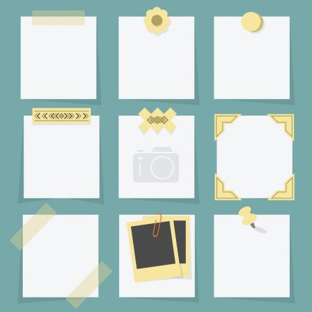Small little attached blank paper notes on teal background - with tapes, stickers, pins, paper clip, and photo corners