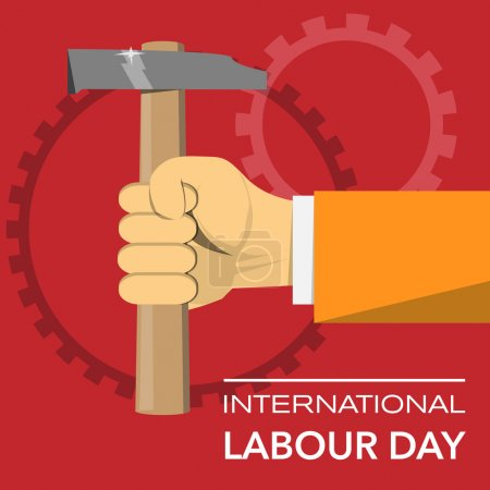 Hand with hammer international labour day vector illustration
