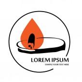 Outline candle flame modern logo vector illustration