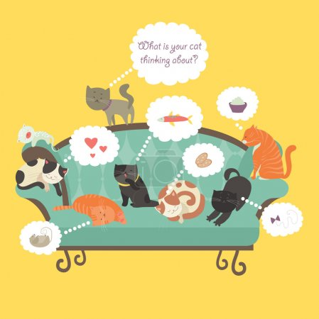 Illustration for Funny cats with Speech Bubble. Vector illustration - Royalty Free Image