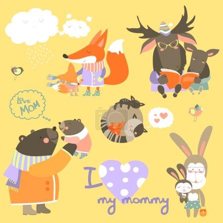 Illustration pour Ensemble vectoriel d'animaux mignons avec leurs petits - image libre de droit