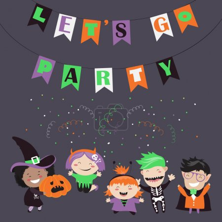 Illustration for Children trick or treating in Halloween costume. Vector illustration - Royalty Free Image