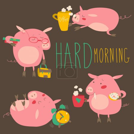 Funny pigs about hard awaking with coffee mugs