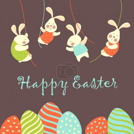 Illustration for Easter bunnies and easter eggs. Vector illustration - Royalty Free Image