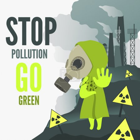 Illustration for Vector Illustration, cartoon characcter wearng gas mask demands to stop environmental pollution - Royalty Free Image